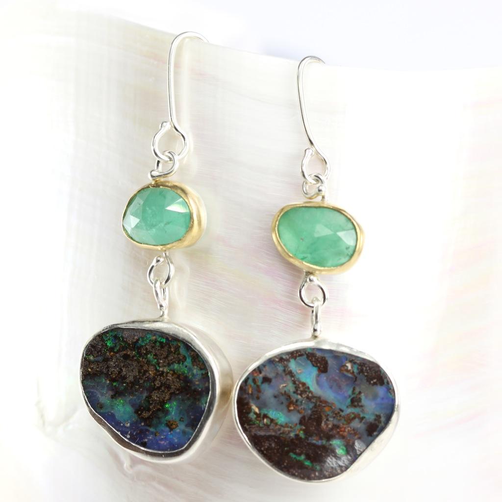 Rose Cut Emerald Earrings With Boulder Opal Drops