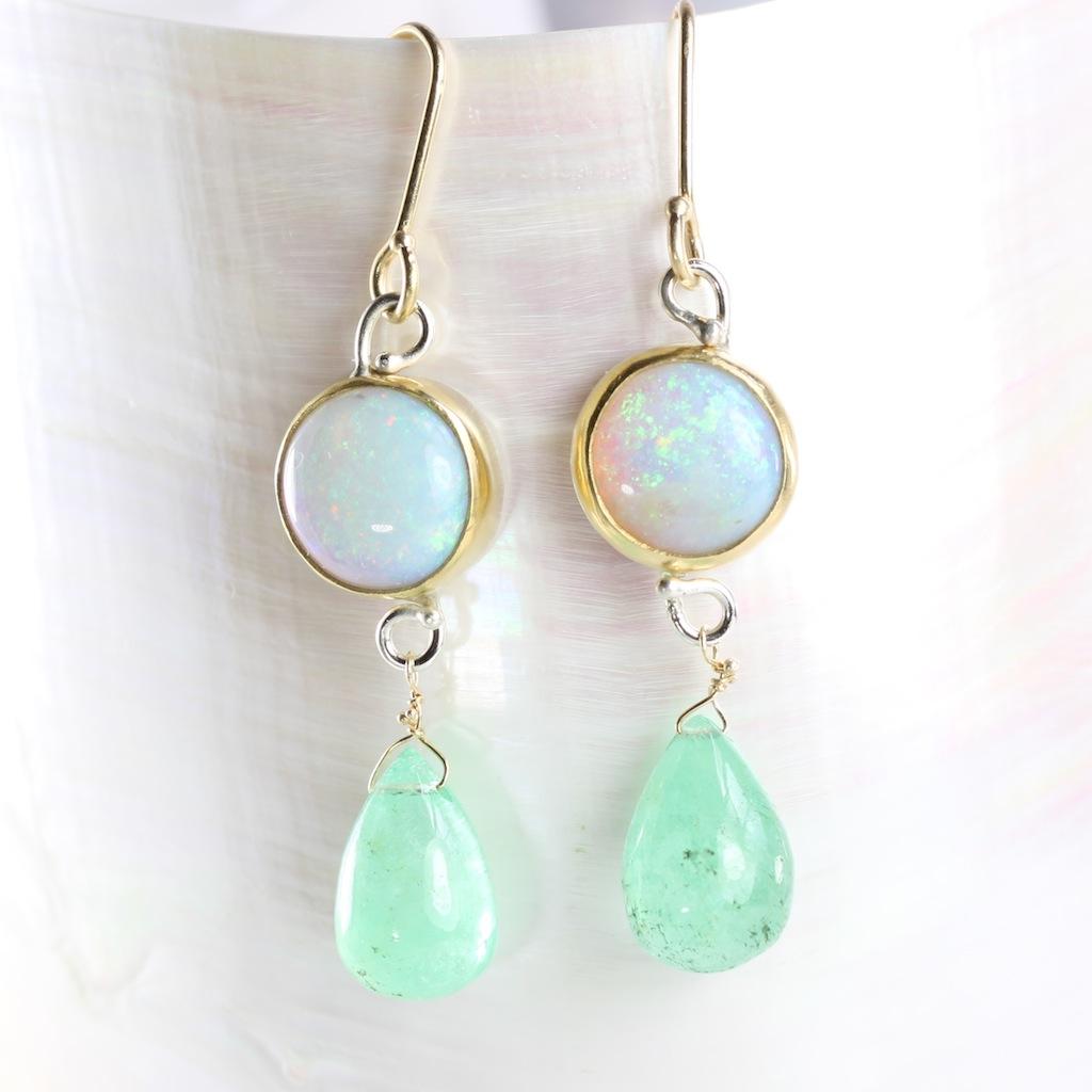 Australian Opal Earrings With Emerald Drops