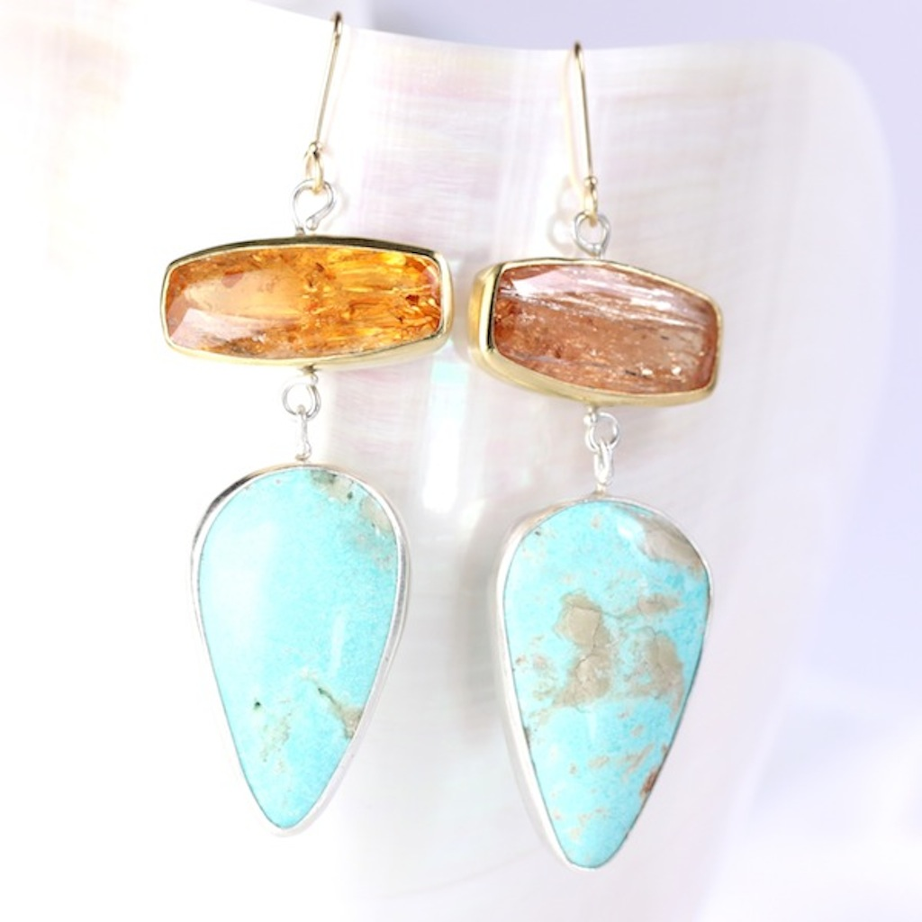 Imperial Topaz Earrings With Turquoise Drops