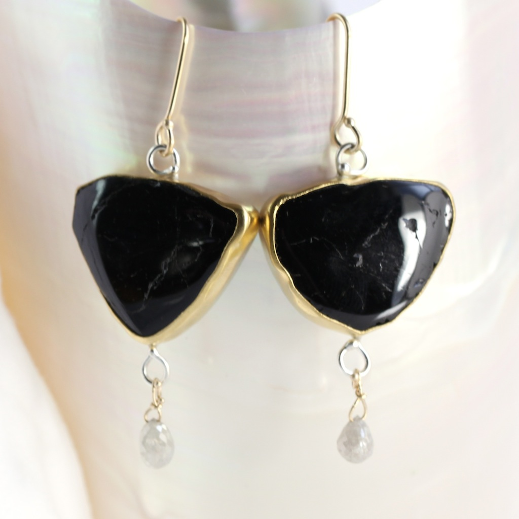 Black Tourmaline Slice Earrings With Diamond Briolette Drops