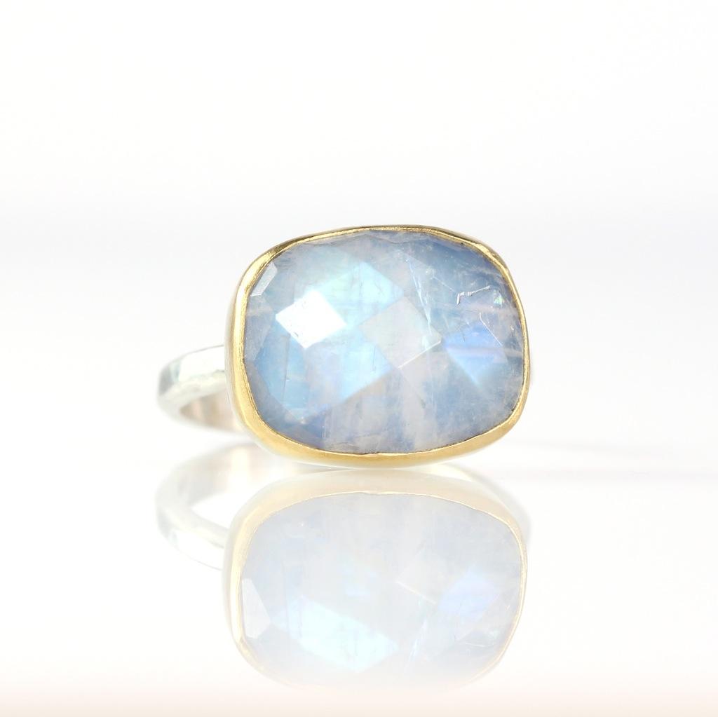 Rose Cut Rainbow Moonstone Ring