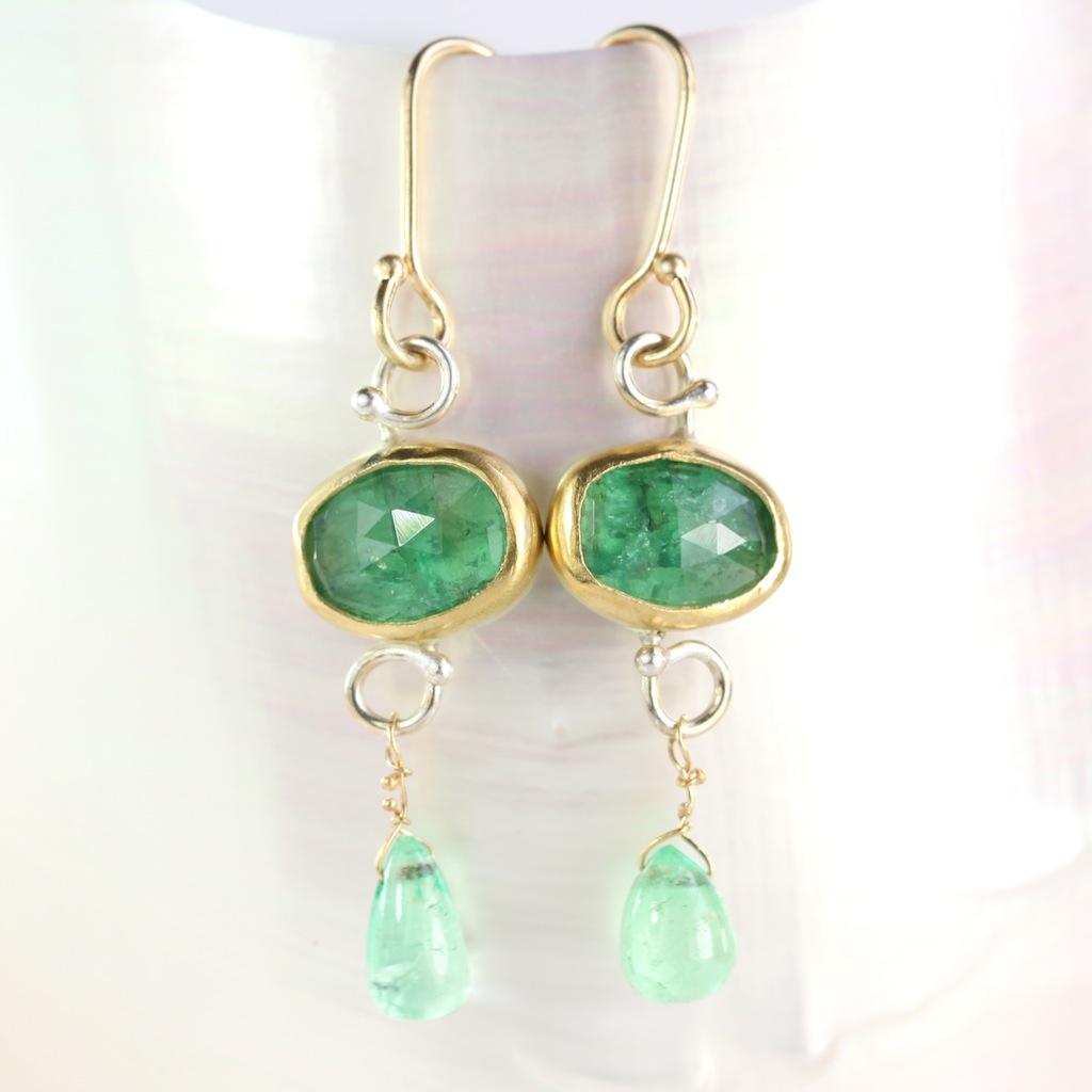 Rose Cut Emerald Earrings With Emerald Drops
