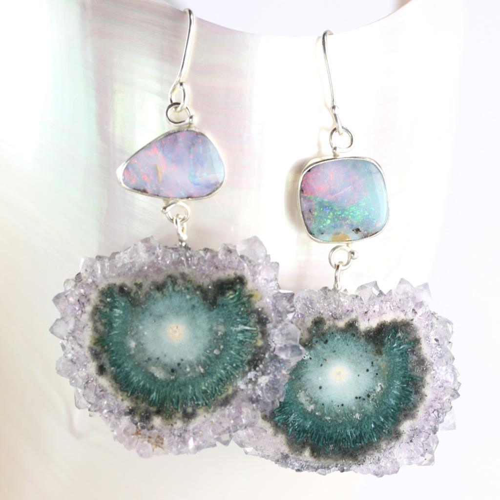 Australian Boulder Opal Earrings With Stalactite Drops