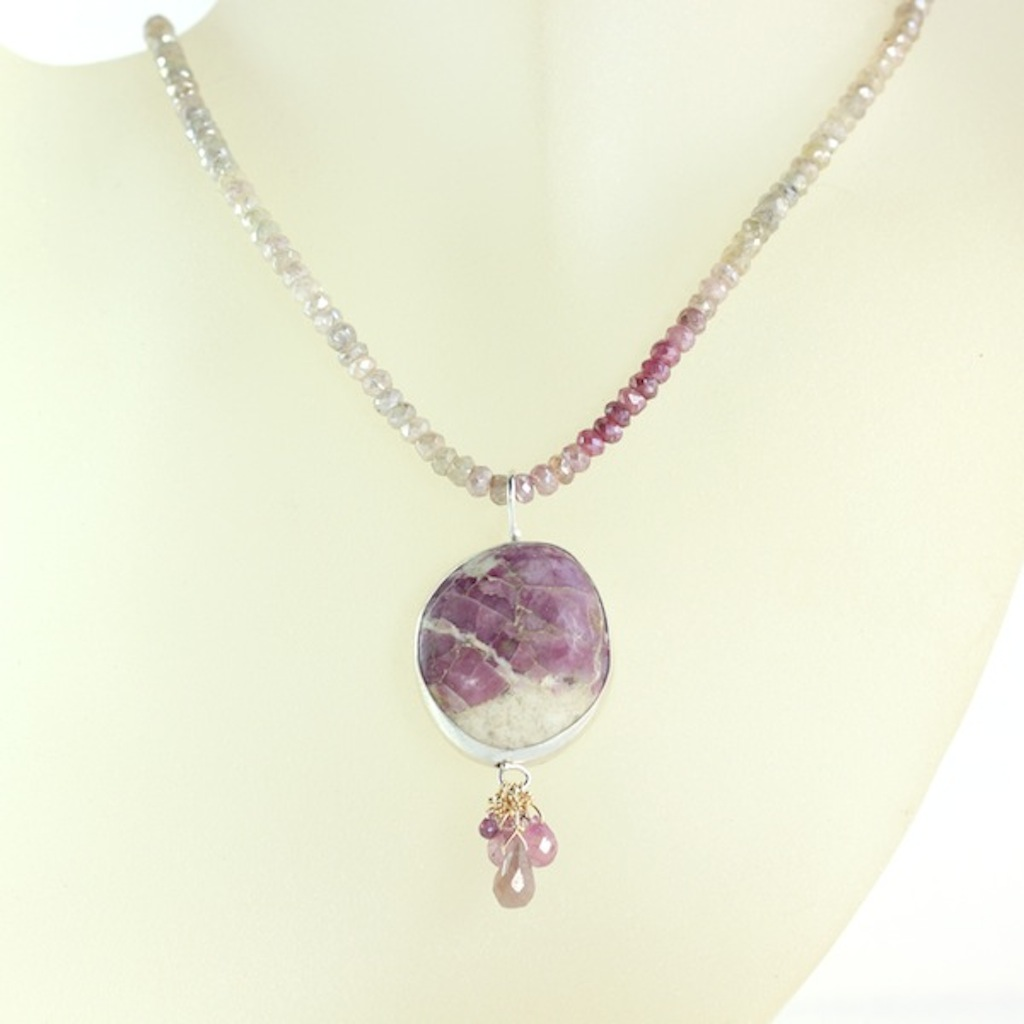 Ruby In Matrix Necklace With Pink & Umba Sapphire Briolettes On Sapphire Strand