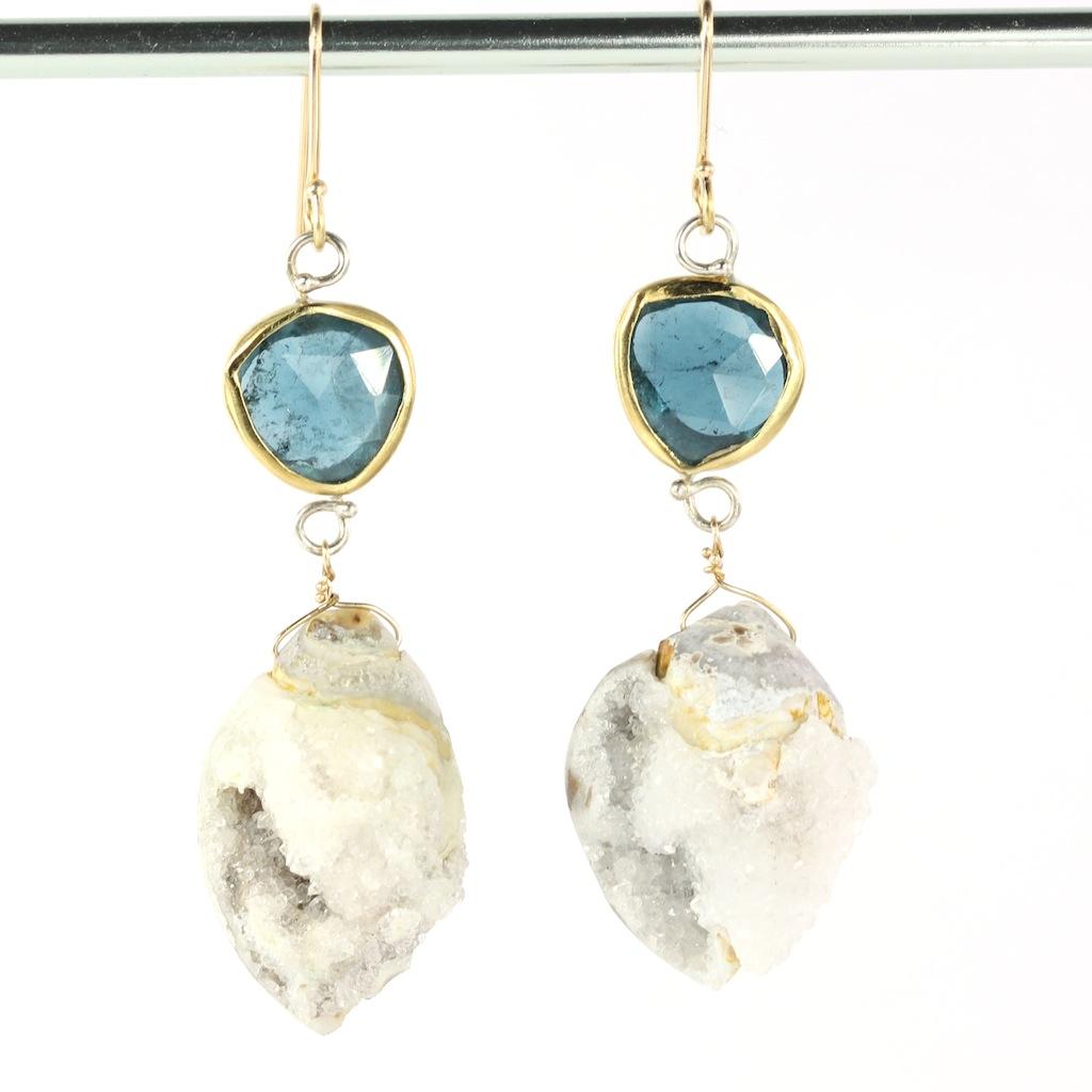 Rose Cut Indicolite (Blue Tourmaline) Earrings With Druzy Fossil Seashells