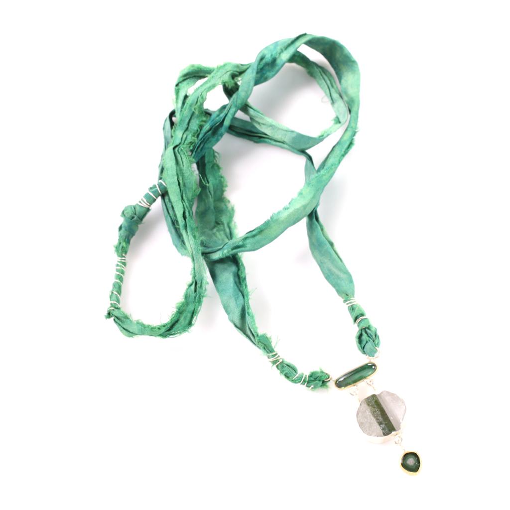 Green Tourmaline Specimen Trio Necklace On Sari Silk Ribbon