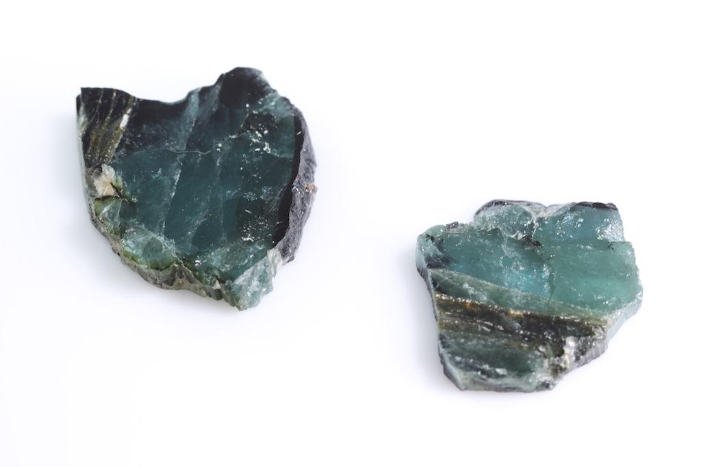 Indicolite specimen slices from Madagascar