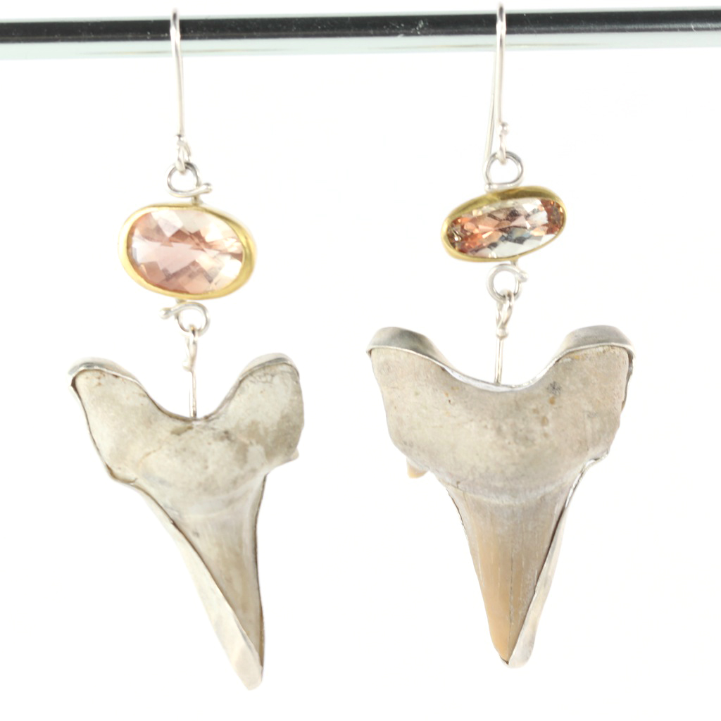 Oregon Sunstone Earrings With Shark Teeth