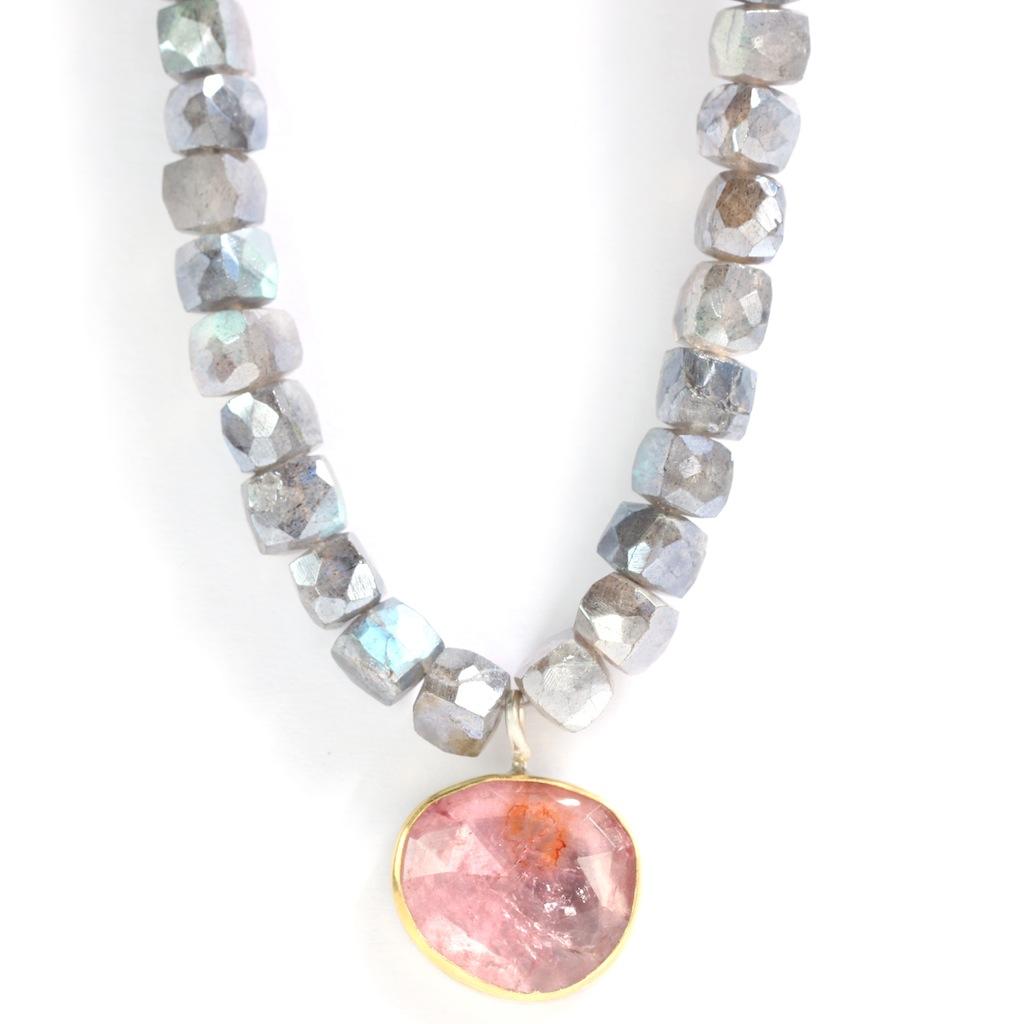 Rose Cut Pink Tourmaline Pendant Necklace On Labradorite