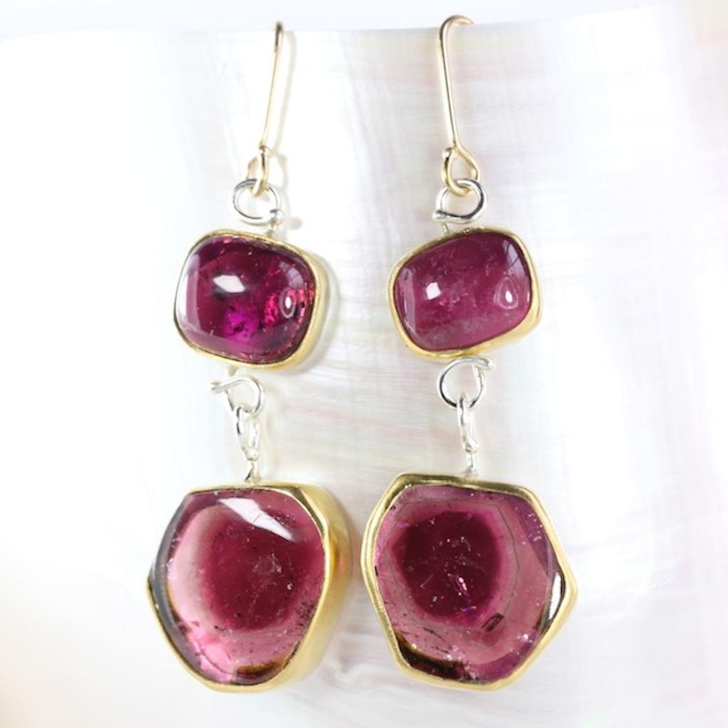 Rubelite (Pink Tourmaline) Earrings With Pink Watermelon Tourmaline Drops