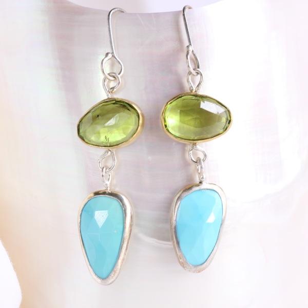 Rose_Cut_Peridot_Turquoise_Earrings.JPG