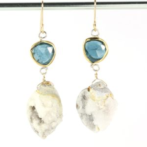 Rose Cut Indicolite Earrings With Druzy Fossil Seashells