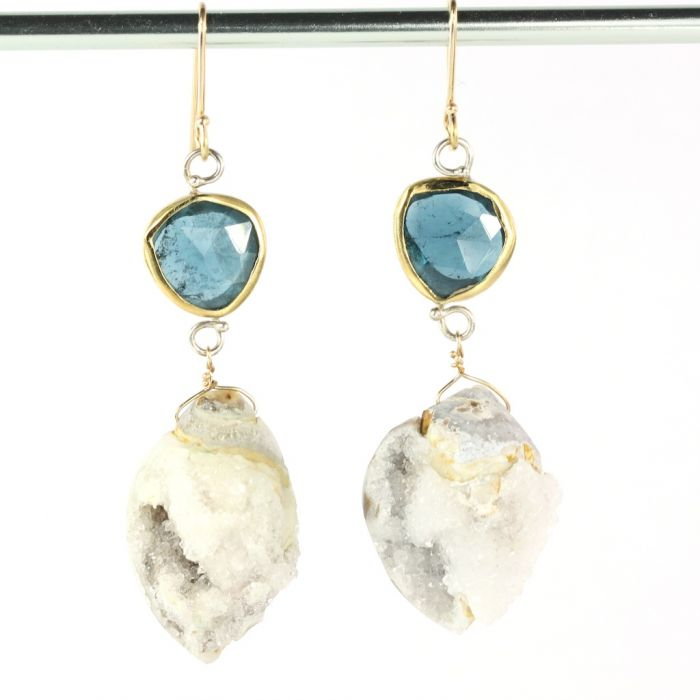 Indicolite Earrings With Druzy Fossil Seashells