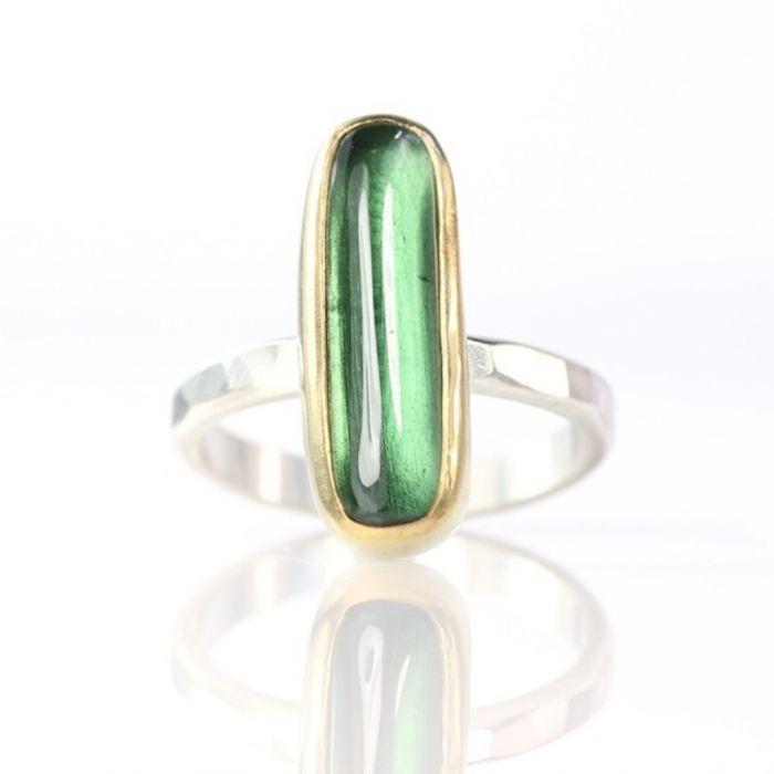 Green Tourmaline Long Oval Cabochon Ring