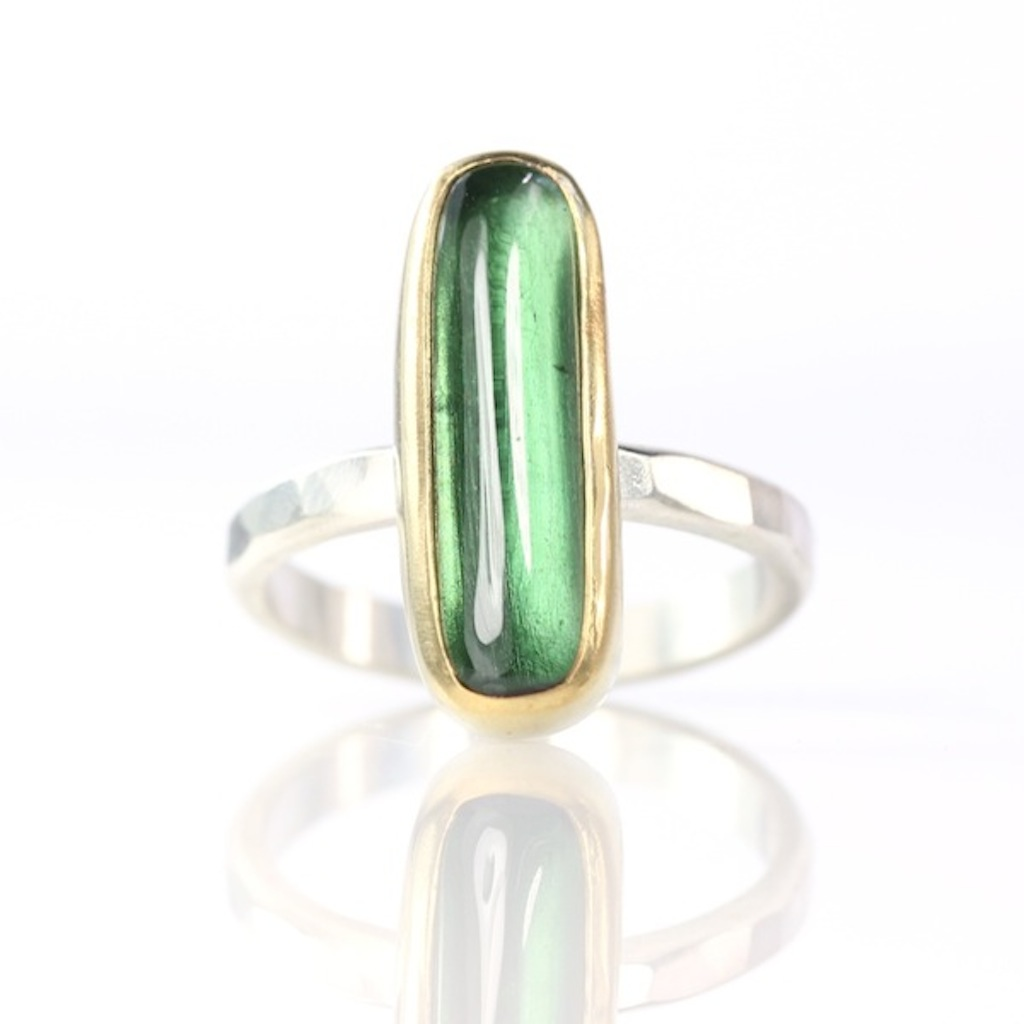 Green Tourmaline Long Oval Cabochon Ring