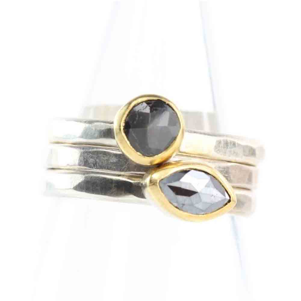 Rose Cut Black Sapphire Ring Stackable