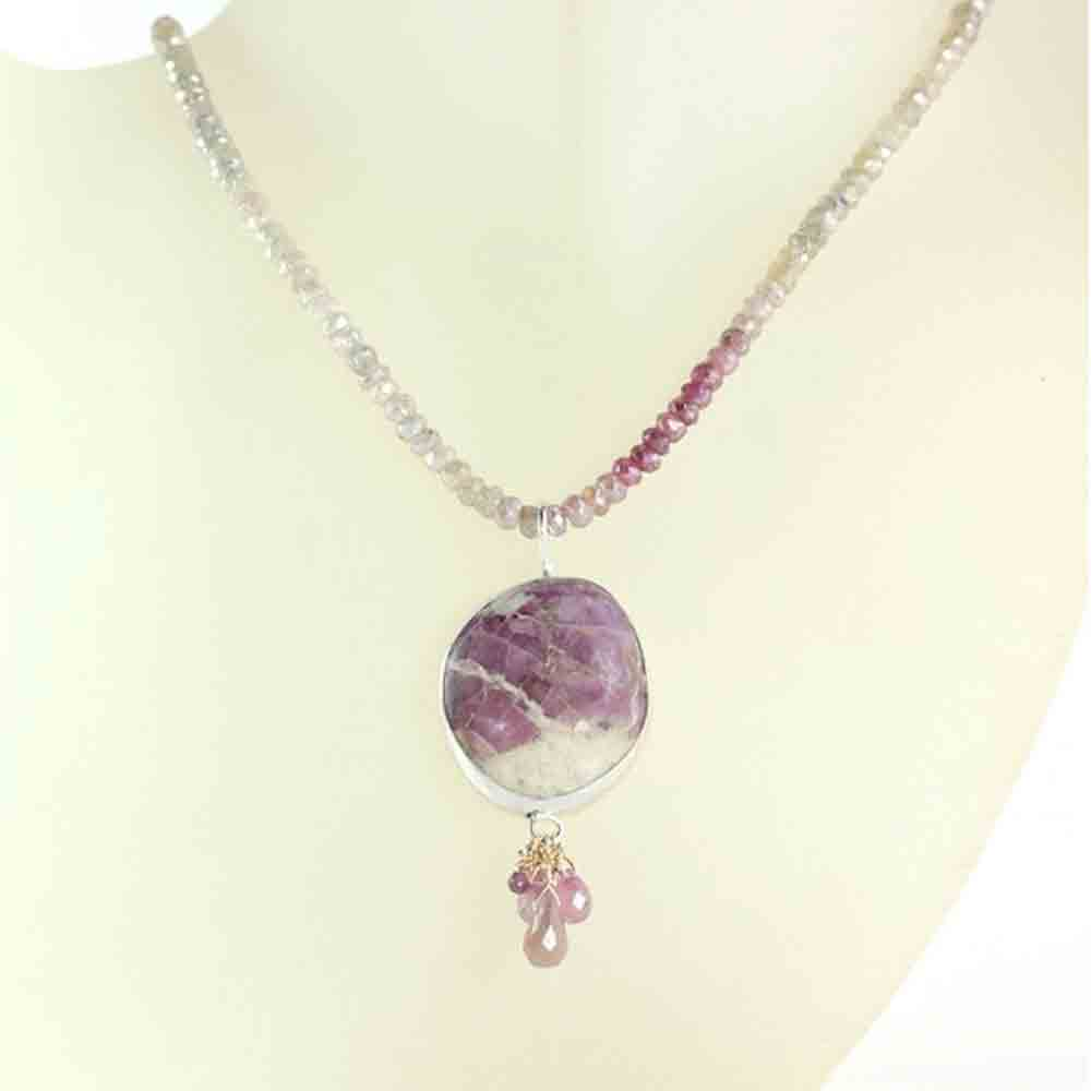 Ruby In Matrix Necklace With Sapphire Briolettes