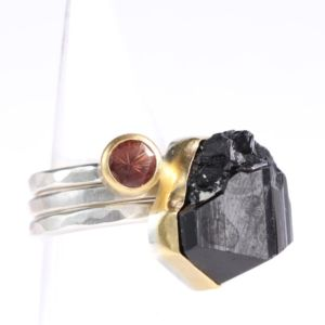 Raw Black Tourmaline Crystal & Oregon Sunstone Stacking Rings