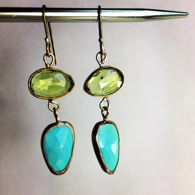 Rose_Cut_Peridot_Turquoise_Earrings5