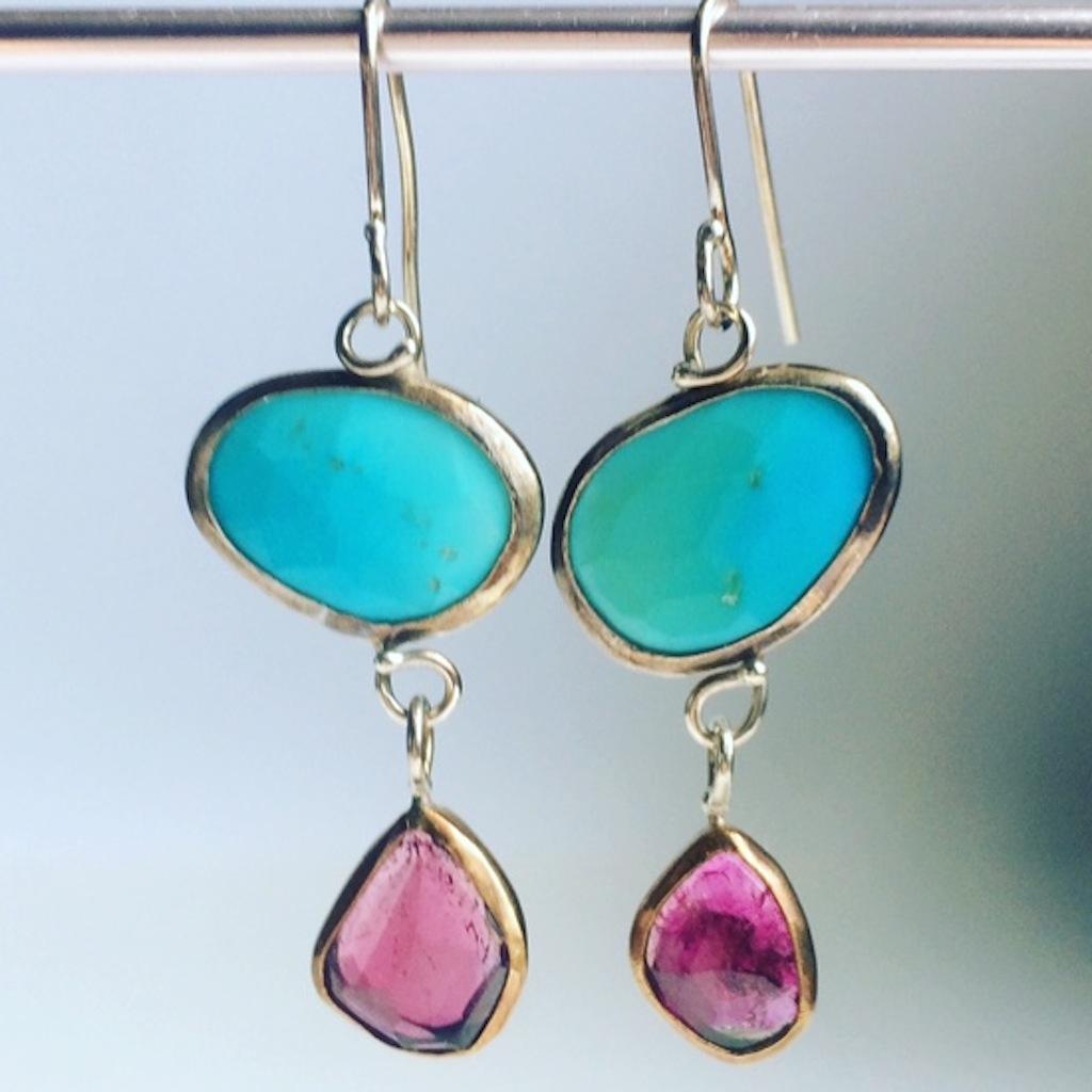 Rose_Cut_Turquoise_Rubelite_Earrings